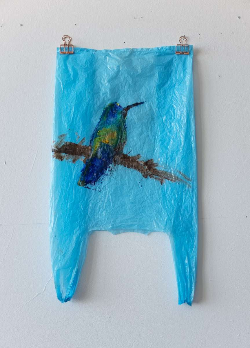 10 Plastic Bird Blau Kolibri Painting Sad M