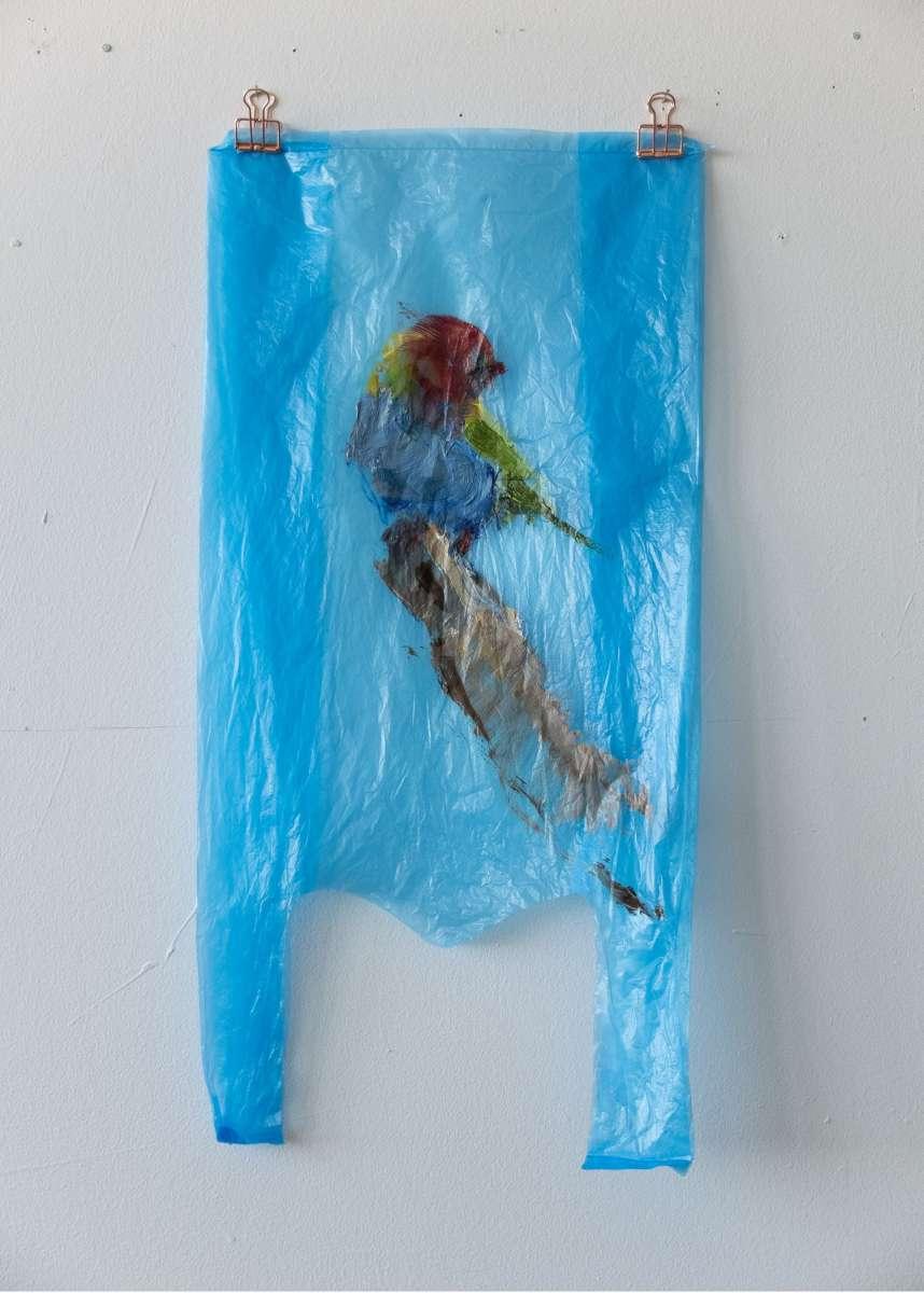 13 Plastic Bird Blau Bay Headed Tanager Painting Sad M