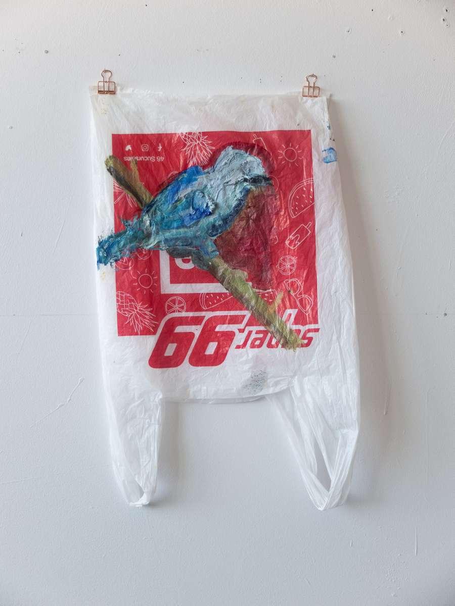 2 Plastic Bird Super99 Tanager Painting Sad M