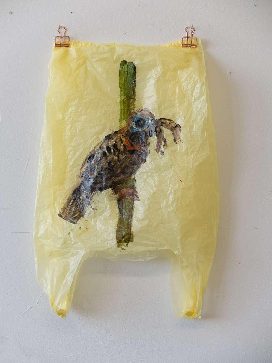 7 Plastic Bird Gelb Antbird Painting Sad M